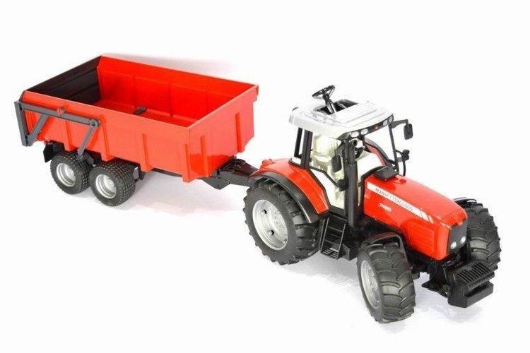 Bruder 02045 traktor z przyczepą Massey Ferguson