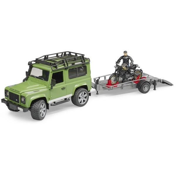 Bruder 02598 Land Rover Defender z przyczepą i motorem Ducati Scrambler Cafe